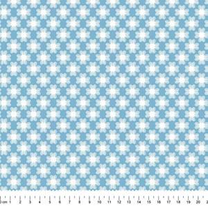 PRÉ-VENDA até 14/10 - Faturamento a partir de 30/10 - Tricoline Estampada Bolt Flor de Poá Azul Claro