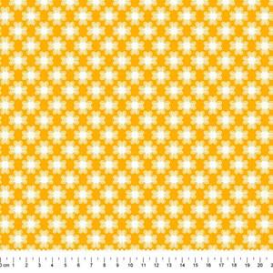 PRÉ-VENDA até 14/10 - Faturamento a partir de 30/10 - Tricoline Estampada Bolt Flor de Poá Mostarda