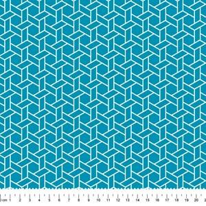 PRÉ-VENDA até 14/10 - Faturamento a partir de 30/10 - Tricoline Estampada Bolt Ladrilho Azul