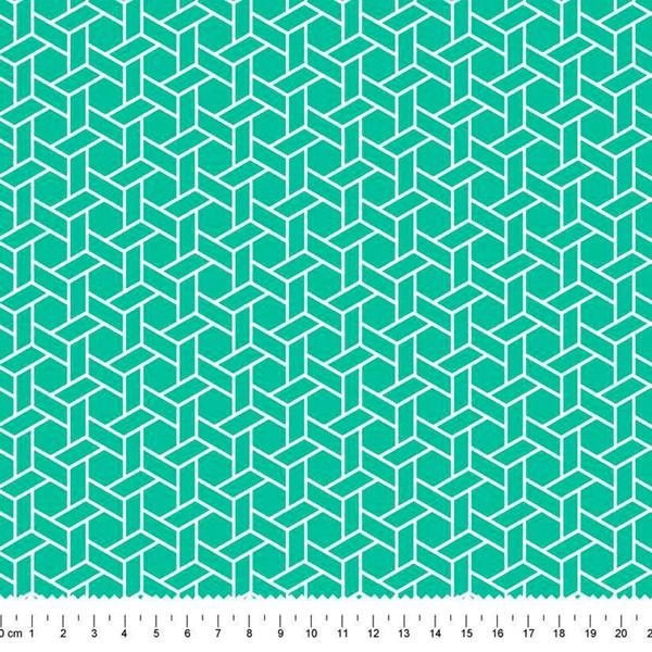 PRÉ-VENDA até 14/10 - Faturamento a partir de 30/10 - Tricoline Estampada Bolt Ladrilho Verde-água