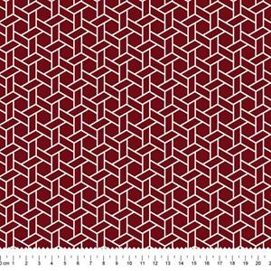 PRÉ-VENDA até 14/10 - Faturamento a partir de 30/10 - Tricoline Estampada Bolt Ladrilho Vinho