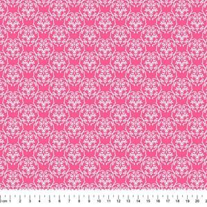 PRÉ-VENDA até 14/10 - Faturamento a partir de 30/10 - Tricoline Estampada Bolt Ramo Arabesco Pink