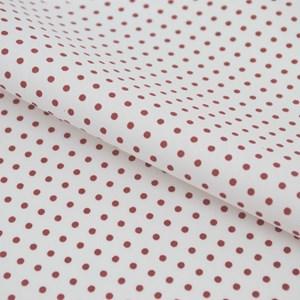 Tricoline Estampada Silky Arinete Branco com Vermelho