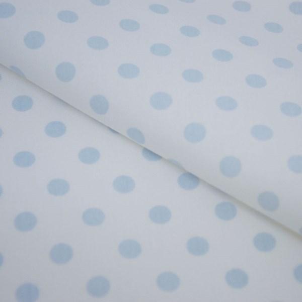 Tricoline Estampada Silky Bola Azul Claro com Branco