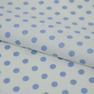Tricoline Estampada Silky Bola Azul com Branco