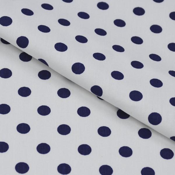 Tricoline Estampada Silky Bola Azul Escuro com Branco