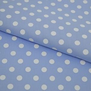Tricoline Estampada Silky Bola Branca com Azul