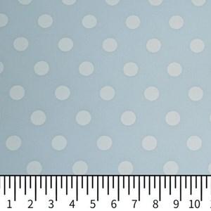 Tricoline Estampada Silky Bola Branca com Azul Claro