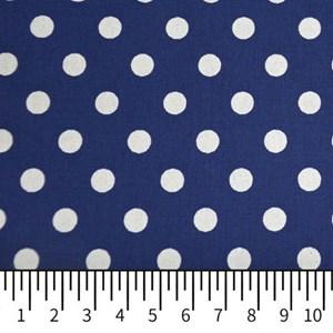Tricoline Estampada Silky Bola Branca com Azul Escuro