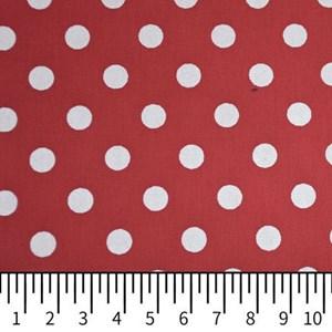 Tricoline Estampada Silky Bola Branca com Vermelho