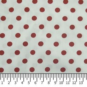 Tricoline Estampada Silky Bola Vermelha com Branco