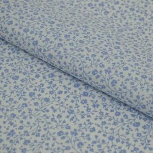 Tricoline Estampada Silky Flor Azul com Branco