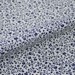 Tricoline Estampada Silky Flor Azul Escuro com Branco