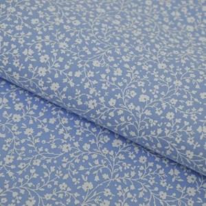 Tricoline Estampada Silky Flor Branca com Azul
