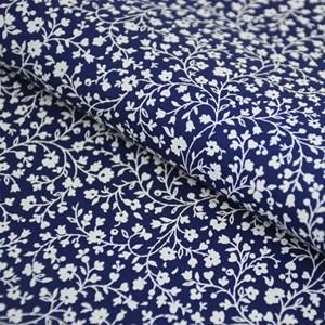 Tricoline Estampada Silky Flor Branca com Azul Escuro
