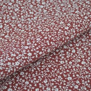 Tricoline Estampada Silky Flor Branca com Vermelho