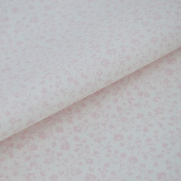 Tricoline Estampada Silky Flor Rosa com Branco
