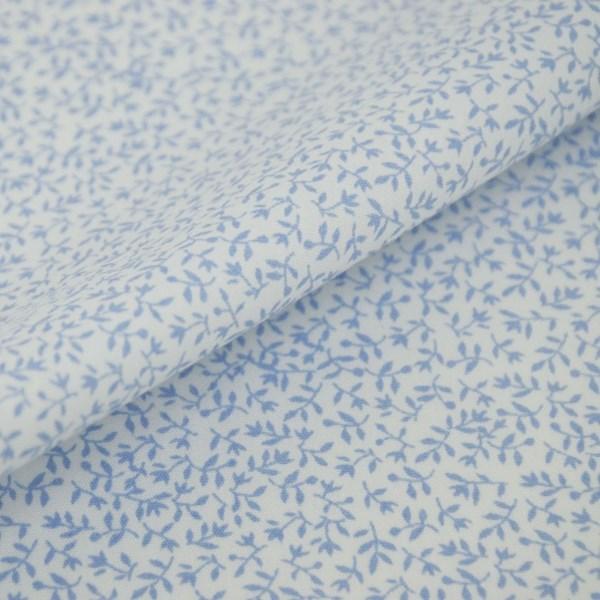 Tricoline Estampada Silky Jardim Azul com Branco