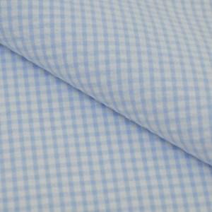 Tricoline Fio Tinto Ana Ruga Xadrez Azul Claro