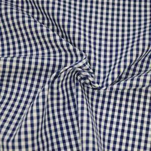 Tricoline Vichy Job X3 Azul Escuro  - 83% algodão e 17% poliéster